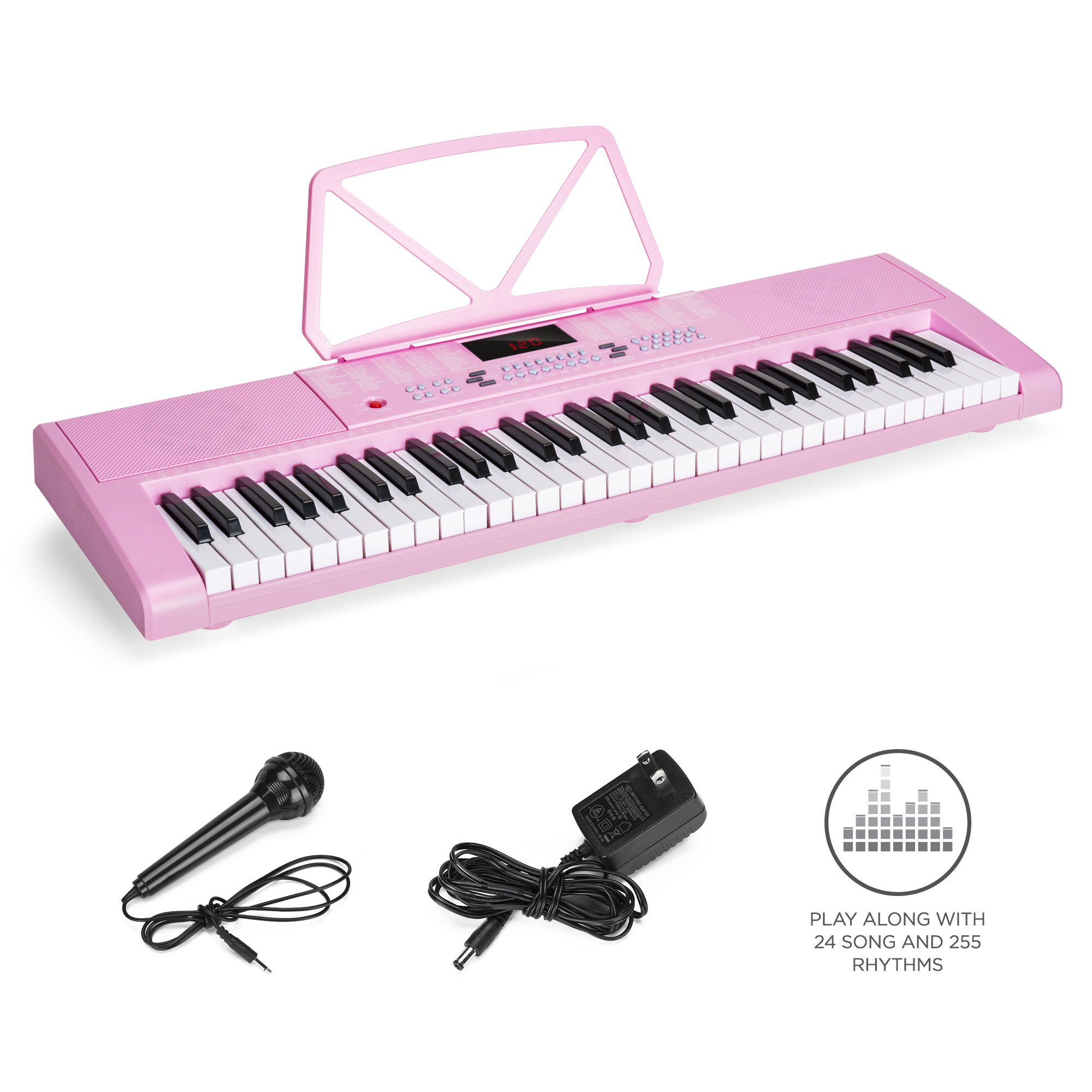 Best Choice Products 61-Key Portable Simulation Keyboard Piano Musical Instrument w/ LED Screen, Built-In Dual Speakers, Record & Playback Function, Microphone, Headphone Jack - Pink