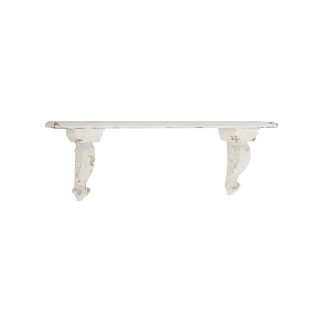 Decmode Rustic 7 X 13 Inch Distressed White Wall Shelf