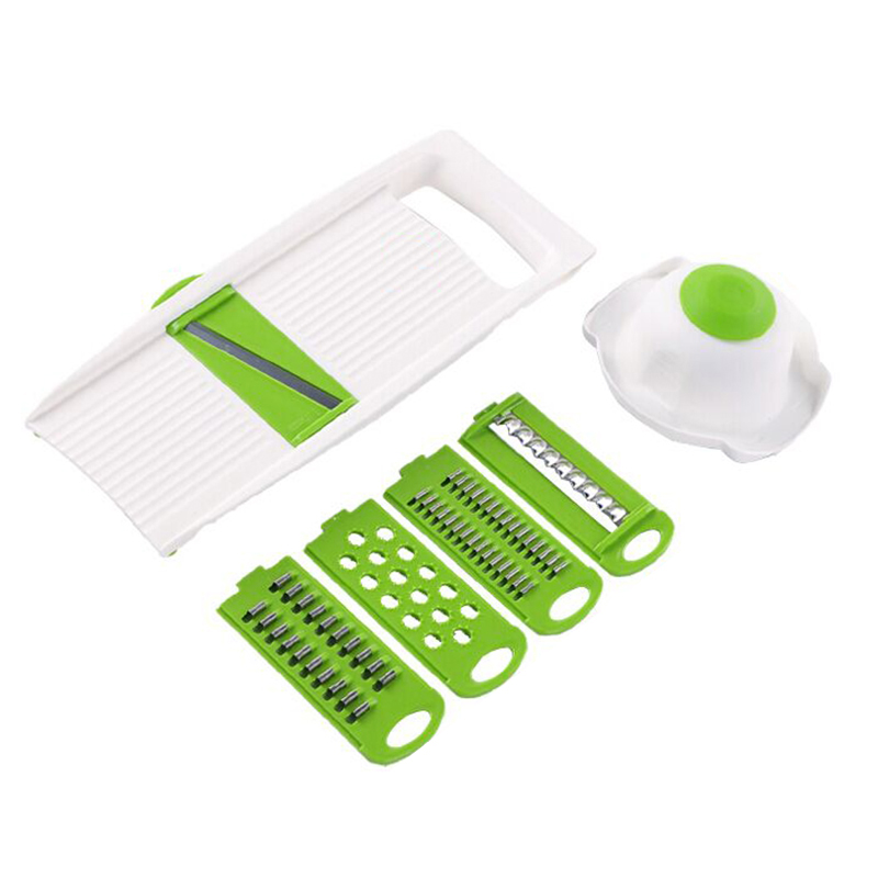 5Pcs/Set Creative Multi-Function Vegetables Fruits Chopper Potatoes Carrot Cucumber Julienne Shredder Cutter Slicer with Food Safety Holder