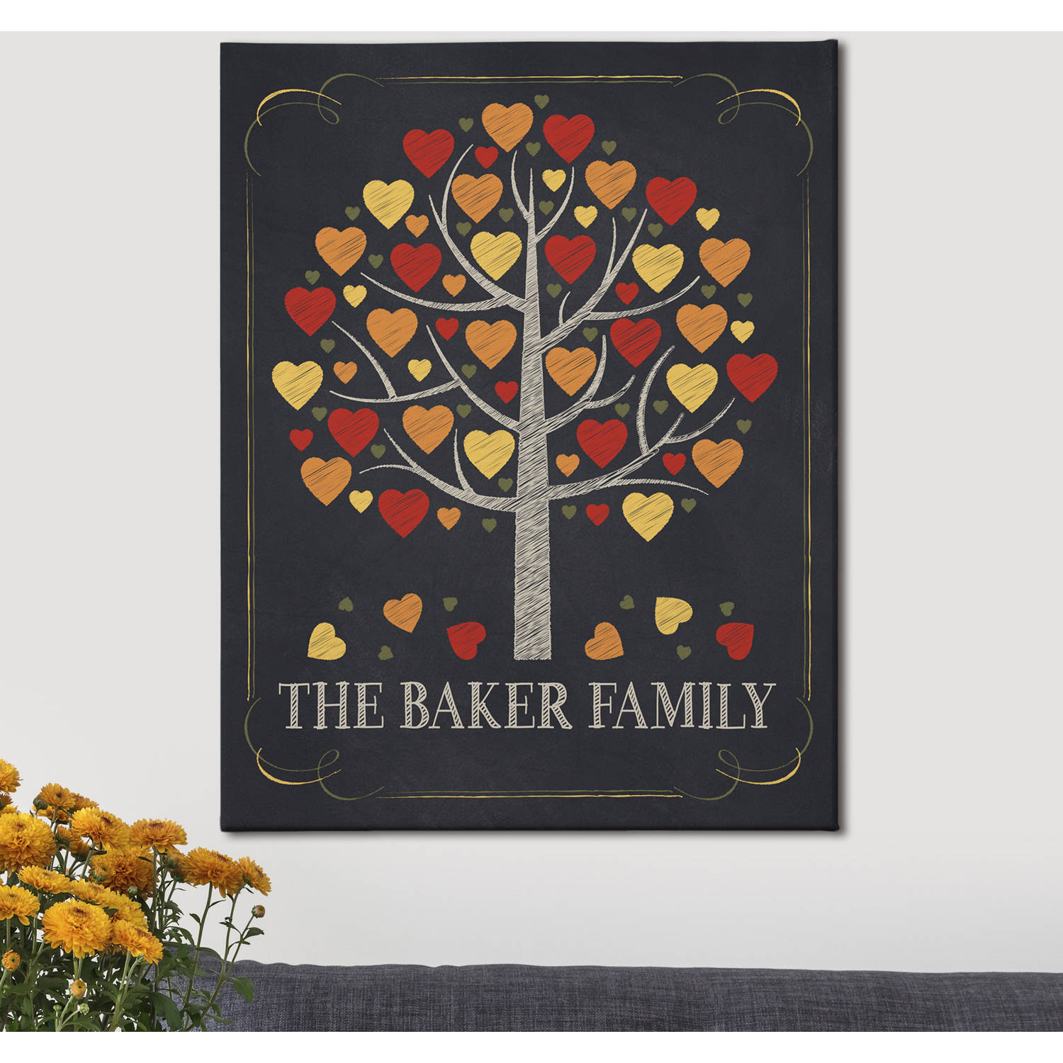Personalized Falling Leaves Family Canvas, Available in 3 Sizes
