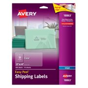 Avery Easy Peel Shipping Labels, Permanent Adhesive, Matte, Clear, 2