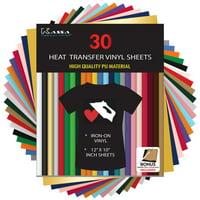 Kassa HTV Heat Transfer Vinyl Bundle - 30 Sheets (12 x 10) - Iron on Vinyl for Cricut & Heat Press Machine - Perfect for T Shirts & Other Fabric - Bonus Teflon Sheet & Weeding Tool