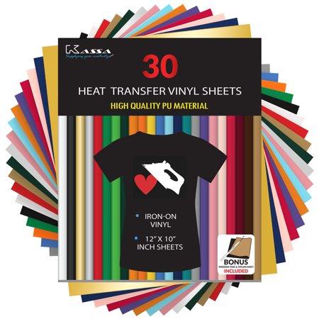 "Kassa HTV Heat Transfer Vinyl Bundle - 30 Sheets (12"" x 10"") - Iron on Vinyl for Cricut & Heat Press Machine - Perfect for T Shirts & Other Fabric - Bonus Teflon Sheet & Weeding Tool"
