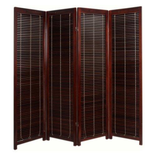 Tranquility Wooden Shutter Screen Room Divider - 4 Panel - Walnut