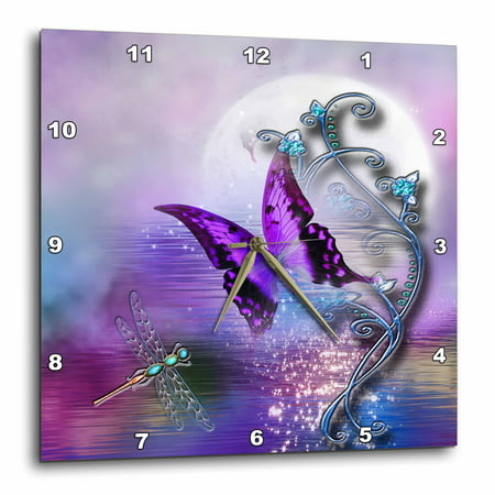 3dRose Butterfly Dragonfly, and Magical accents - Wall Clock, 10 by 10-inch