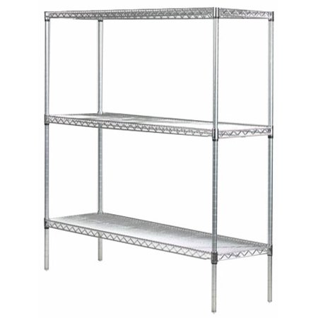 "14"" Deep x 72"" Wide x 74"" High 3 Tier Stainless Steel Wire Starter Shelving Unit"