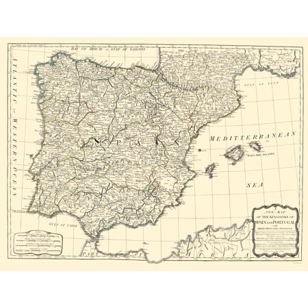 Old Iberian Peninsula Map - Spain and Portugal Kingdoms - Sayer 1790 ...