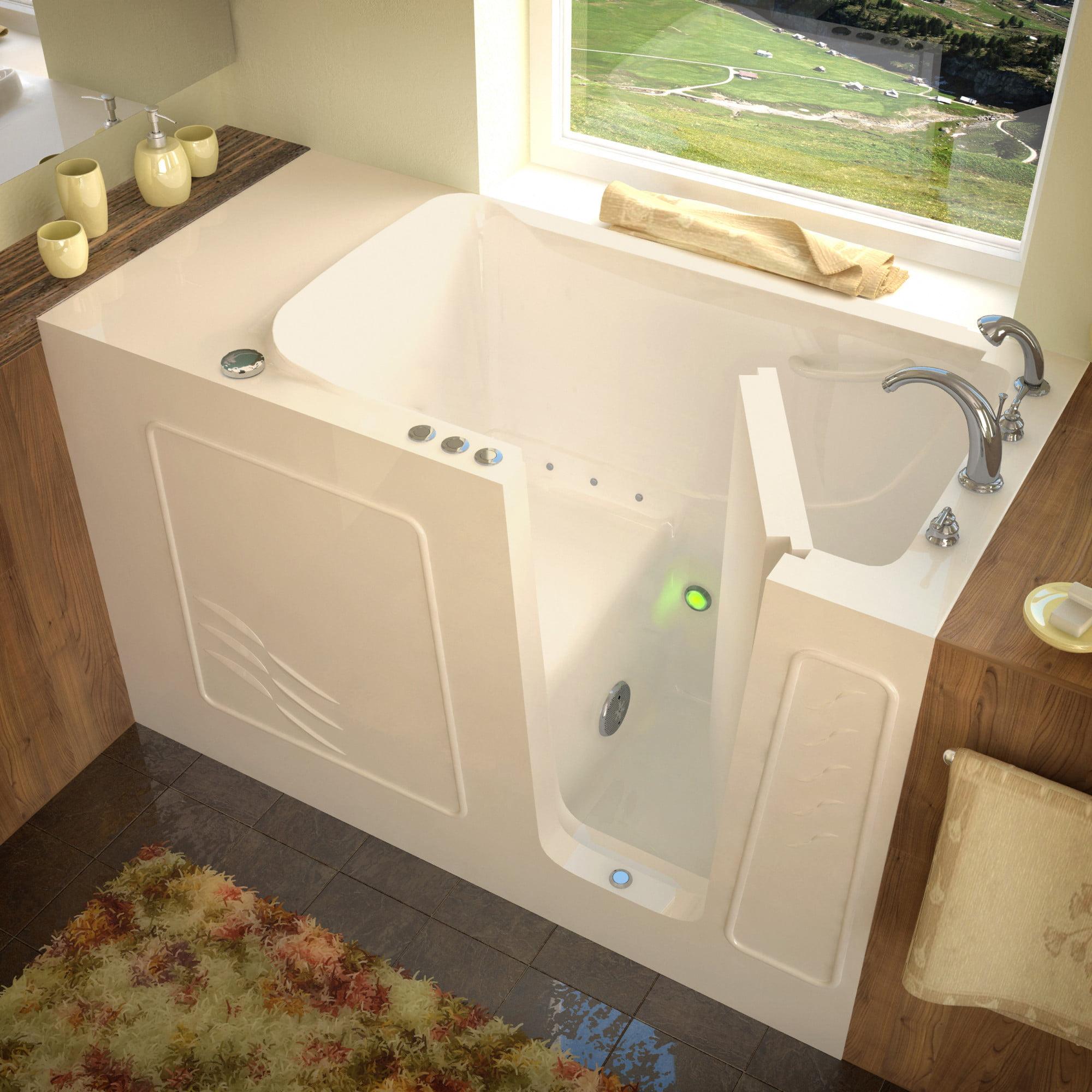 "Avano AV3060WIRA Walk-In Tubs 60"" Gel Coated Air Bathtub for Alcove Installations w/ Right Drain, Roman Tub Faucet & Handshower"