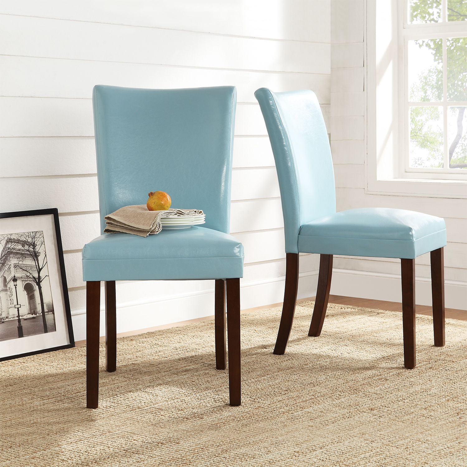 Ordinaire Tribecca Home Estonia Sky Blue Upholstered Dining Chairs (Set Of 2)