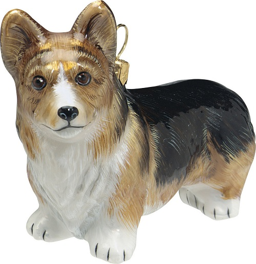 tri color pembroke welsh corgi dog polish blown glass christmas ornament - Corgi Christmas Ornaments