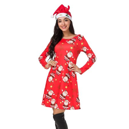 Womens Christmas Dress Long Sleeve Pullover Swing Flared Cocktail Party Dresses A Line Xmas Midi Dress