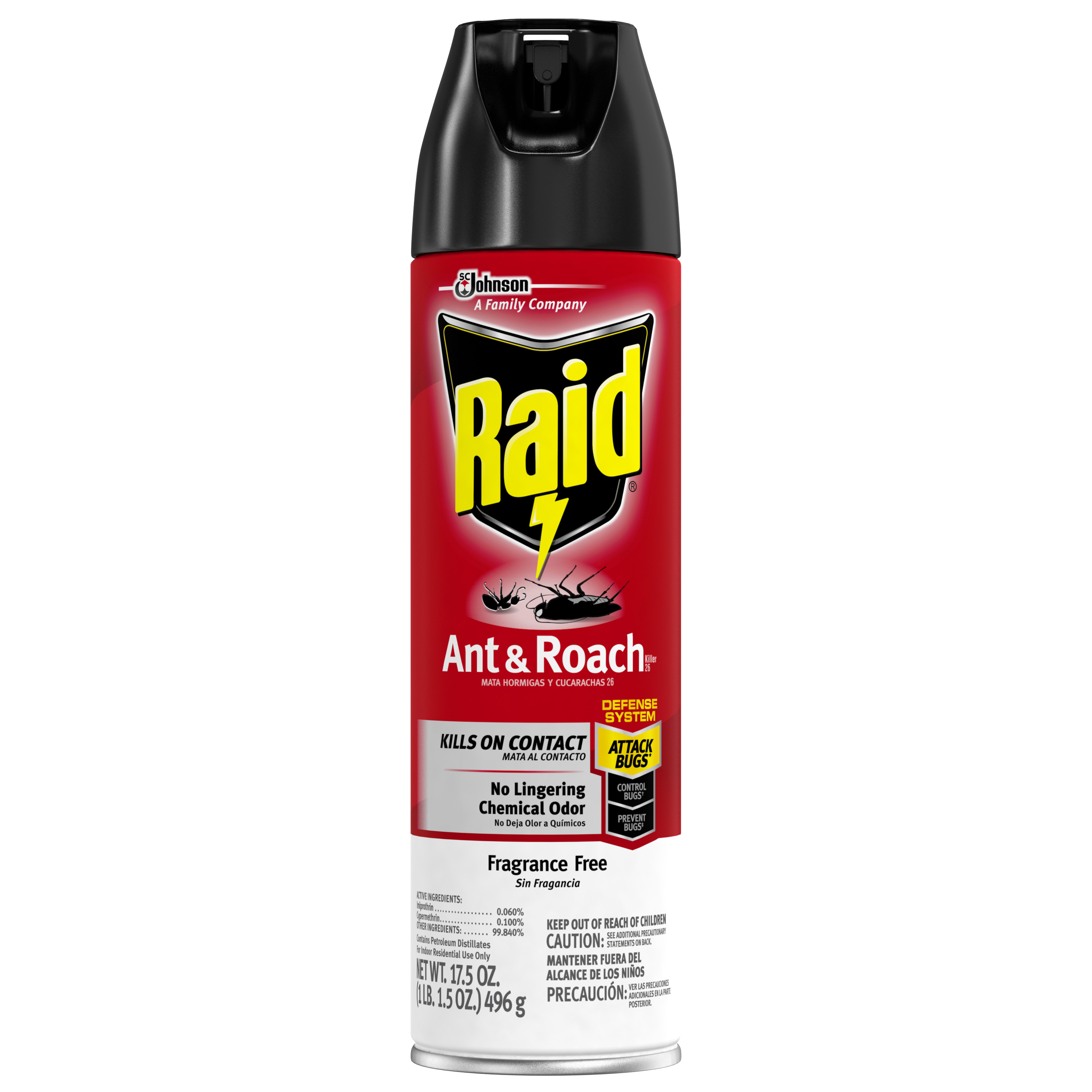 Raid Ant & Roach Killer Fragrance Free 17.5 Ounces