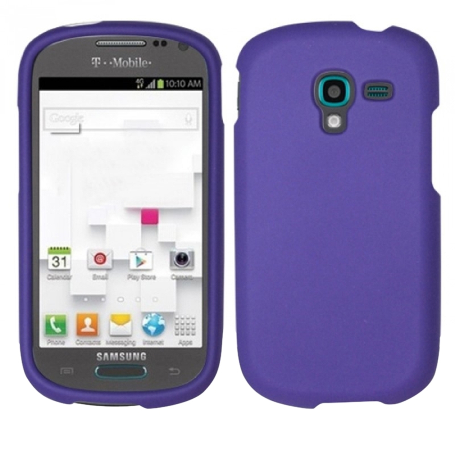Insten For Samsung Galaxy Exhibit T599 Rubberized Cover Case - Purple