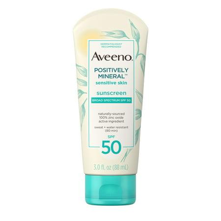 Aveeno Positively Mineral Sensitive Sunscreen Lotion SPF 50, 3 fl. oz