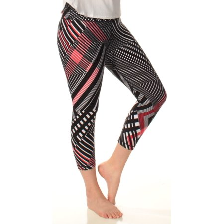 TOMMY HILFIGER Womens Black Mid Rise Printed Active Wear Leggings  Size: M