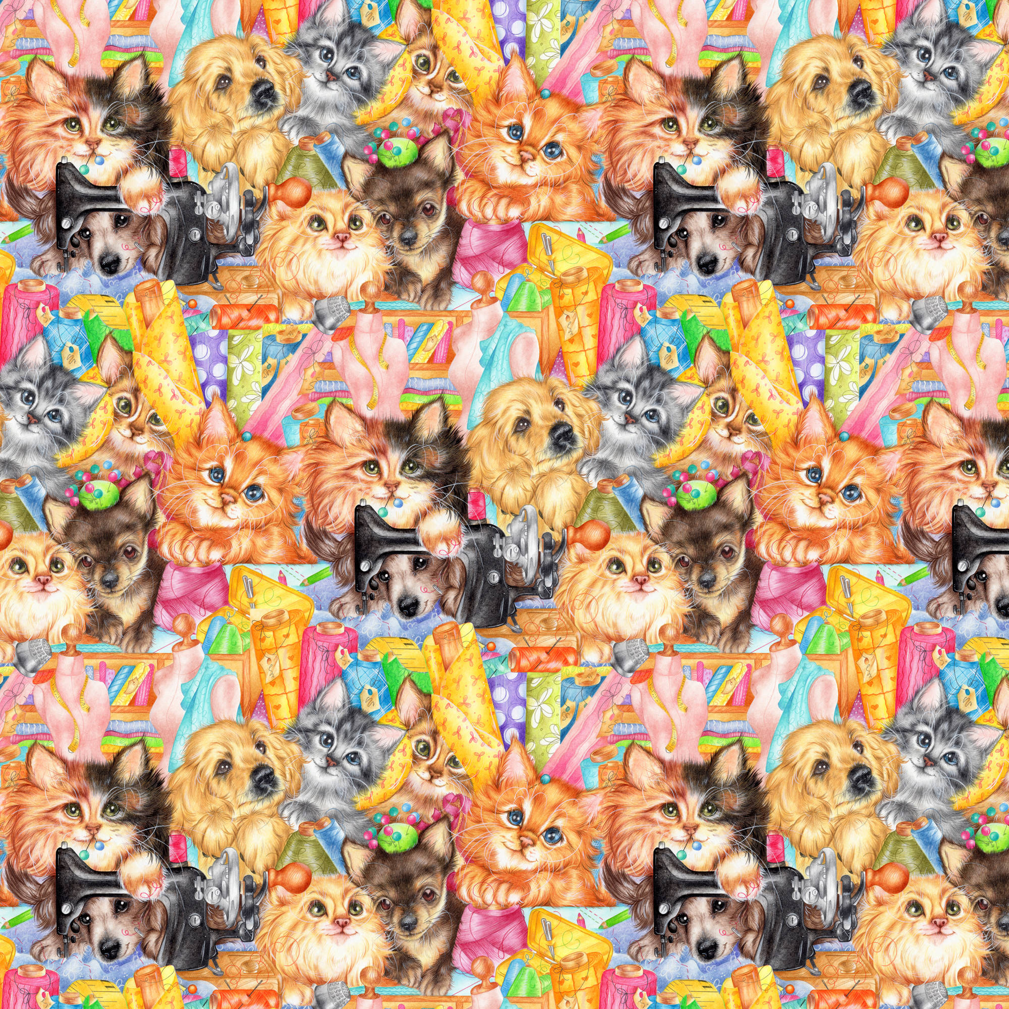 Sew Happy Animals Quilting Cotton Fabric By The Yard, 44""