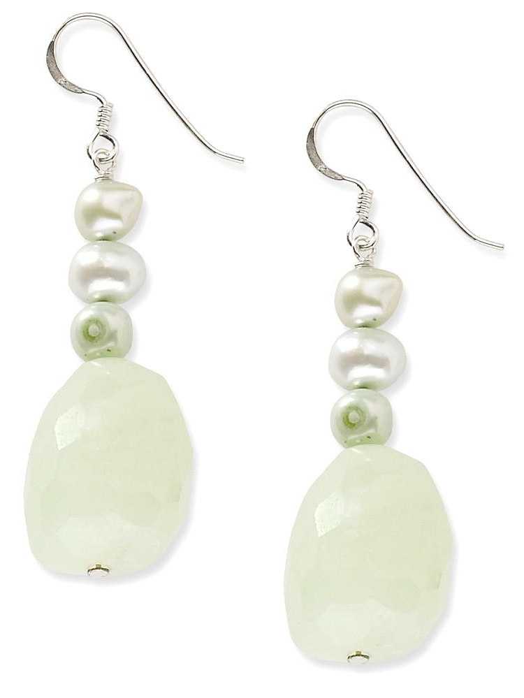 ICE CARATS ICE CARATS 925 Sterling Silver Chalcedony Green Freshwater Cultured Pearl Drop Dangle Chandelier Earrings... by IceCarats Designer Jewelry Gift USA
