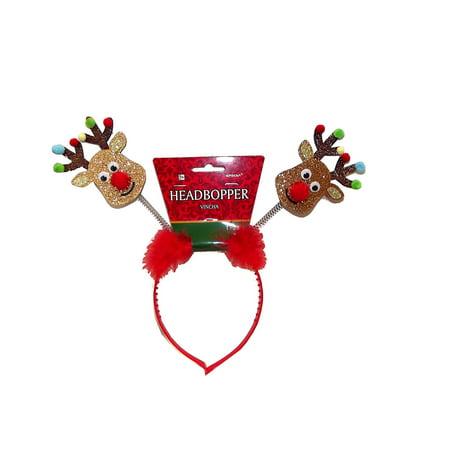 Amscan Christmas Reindeer Glittered Headbopper Headband, One Size