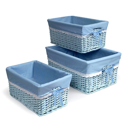 Badger Basket - Set of Three Baskets, Blue