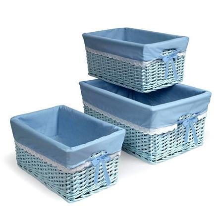 Badger Basket - Set of Three Baskets, Blue