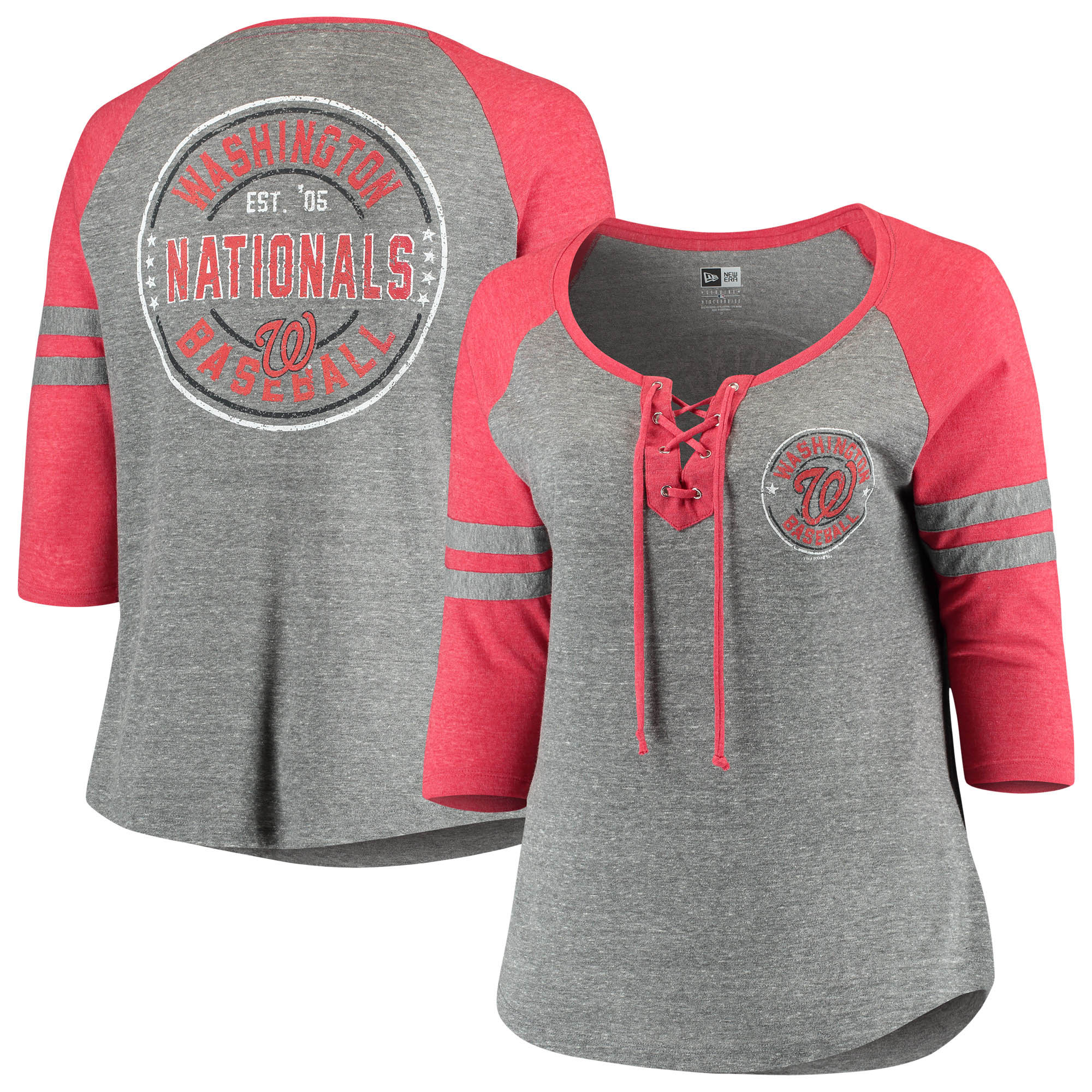 Washington Nationals 5th & Ocean by New Era Women's Plus Size Jersey Tri-Blend 3/4-Sleeve Raglan Lace-Up V-Neck T-Shirt - Heathered Gray/Red