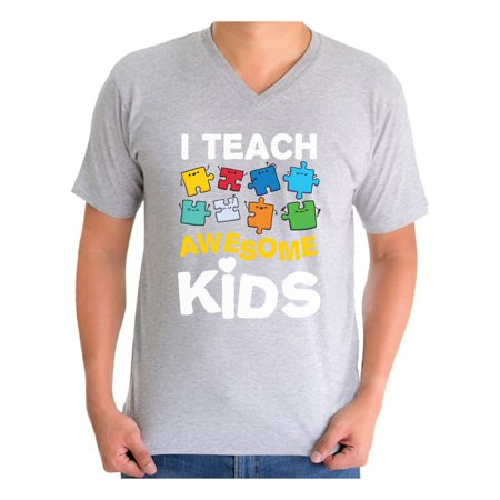 Awesome Graphic Tees - Awkward Styles Men's Autism Awareness Puzzle Graphic V-neck T-shirt Tops I Teach Awesome Kids