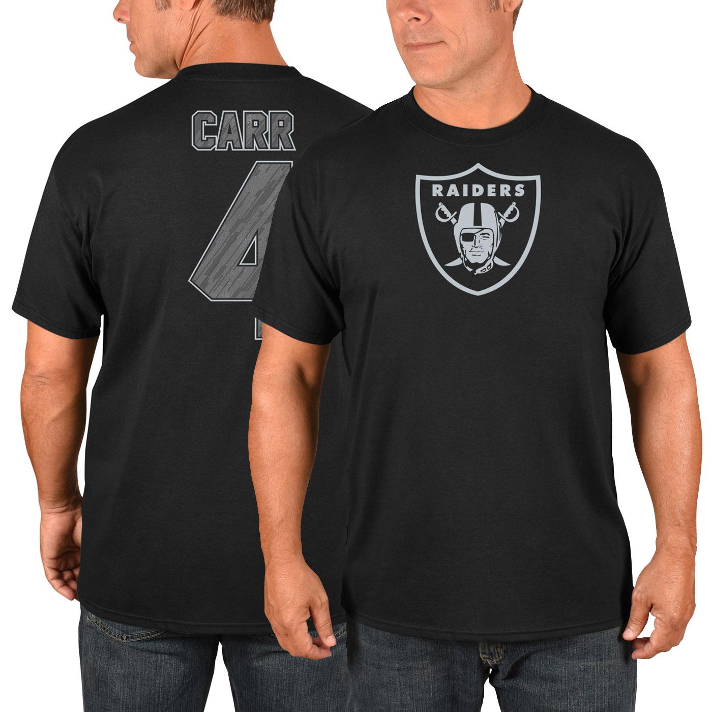 Derek Carr Oakland Raiders Majestic Primetime Player Name & Number T-Shirt - Black