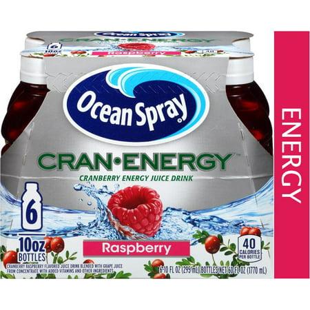 (4 Pack) Ocean Spray Cran-Energy Juice, Raspberry, 10 Fl Oz, 6