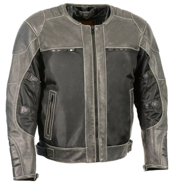 Milwaukee Mens Leather & Mesh Racer Jacket w/ Removeable Rain Jacket Liner Retro Gray