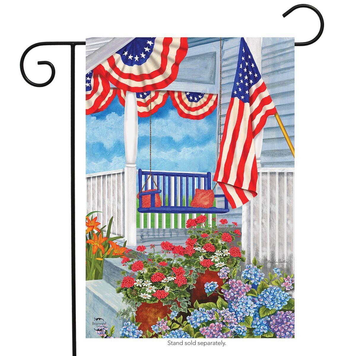 "Patriotic Porch Spring Garden Flag Floral 12.5"" x 18"" Briarwood Lane"