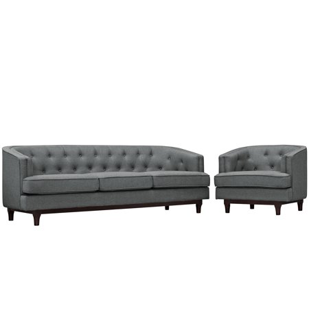 - Modern Contemporary Urban Design Living Lounge Room Sofa Set ( Set of Two), Grey Gray, Fabric
