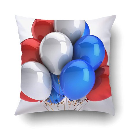 RYLABLUE Party Balloons 4Th Of July Independence Day Red White Colorful Happy Birthday Pillowcase Pillow Cushion Cover 20x20 inch - image 1 de 1