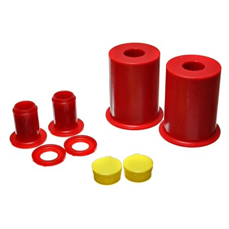 Metal Front Bushings (Energy Suspension 05-13 Ford Mustang Red Front Lower Control Arm Bushings (Must reuse outer metal)