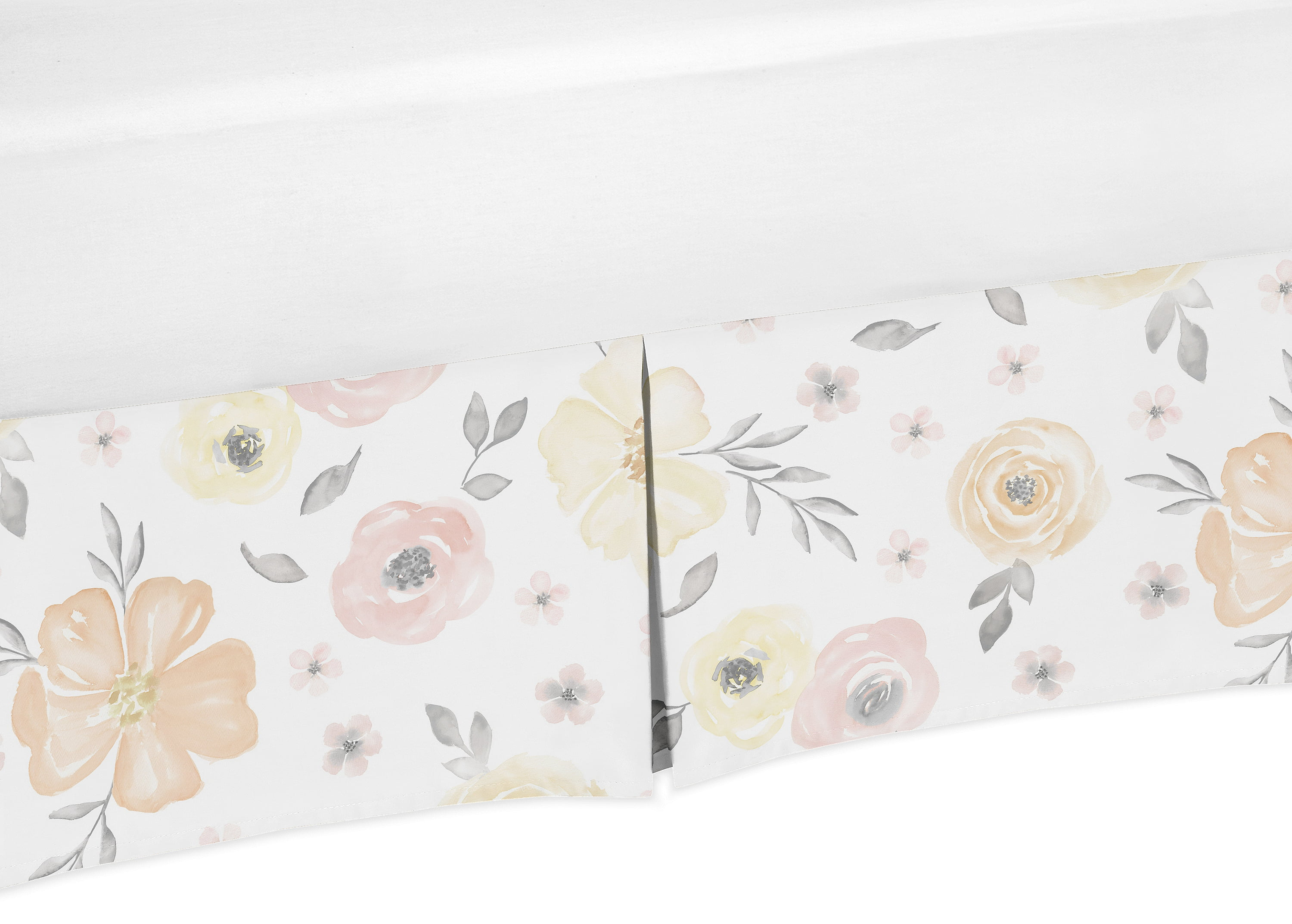 Sweet Jojo Designs Yellow and Pink Watercolor Floral Girl Baby Nursery Crib Bed Skirt Dust Ruffle Blush Peach Orange Cream Grey and White Shabby Chic Rose Flower Farmhouse