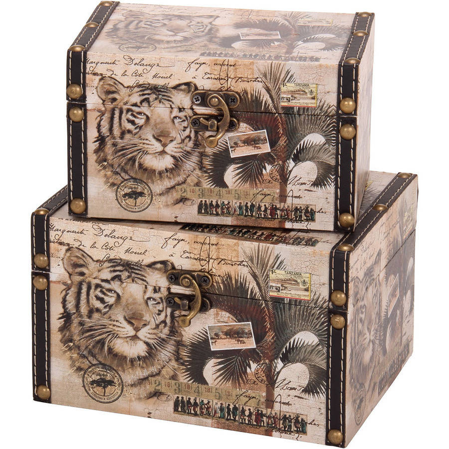 Household Essentials Animal Kingdom Storage Boxes, Set of 2, Medium and Small