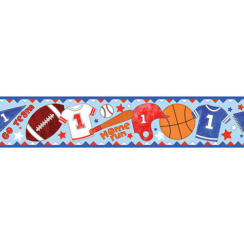 Blue Mountain Wallcoverings Go Team Border Self-Stick, 5""