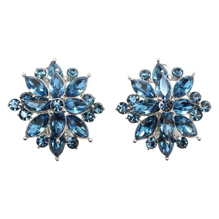 Faship Stunning Clip On Style Earrings Navy Blue Rhinestone Crystal - Navy Blue Blue Clip Earrings