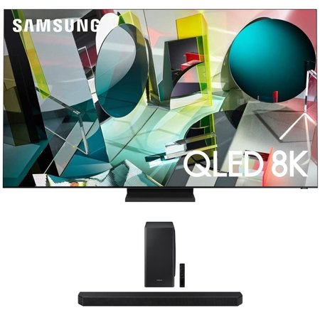 """Samsung QN75Q900TS 75"""" 8K Ultra High Definition HDR QLED Smart TV with a Samsung HW-Q900T 7.1.2 Channel Soundbar with Dolby Atmos and DTS:X (2020)"""