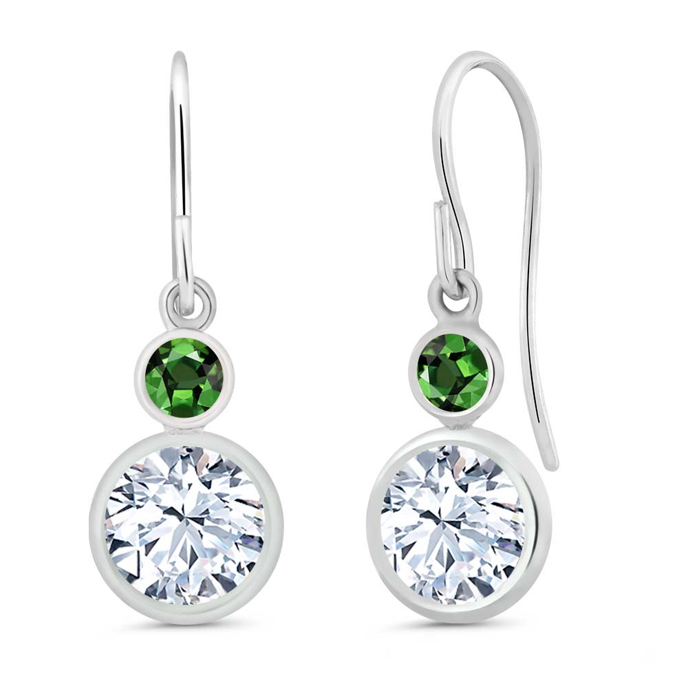2.26 Ct Round White Topaz Green Sapphire 925 Sterling Silver Earrings