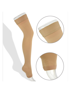 Thigh High Compression Stockings 20-30mmHg with Open Toe for Men and Women from Lemon Hero - Best Leg Support Hose for Varicose Vein Treatment, Swollen Legs (Medium, Beige)