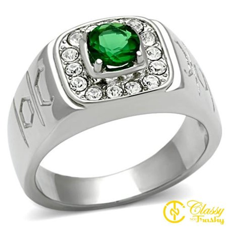 Emerald Cut Glass - Classy Not Trashy® Men's Stainless Steel Round Cut Emerald Synthetic Glass Ring - Size 9