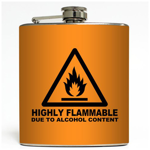 Highly Flammable - Orange - Liquid Courage Flasks - 6 oz. Stainless Steel Flask