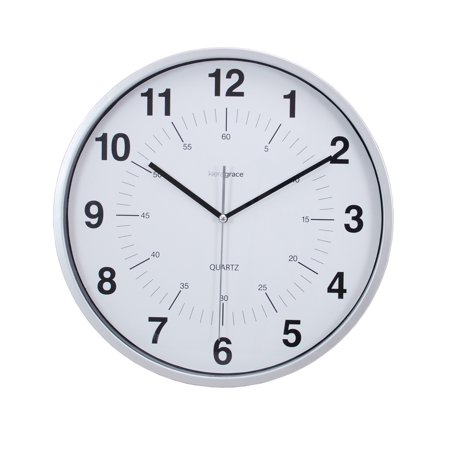 Enigma 12 In. Silent Wall Clock, Silver