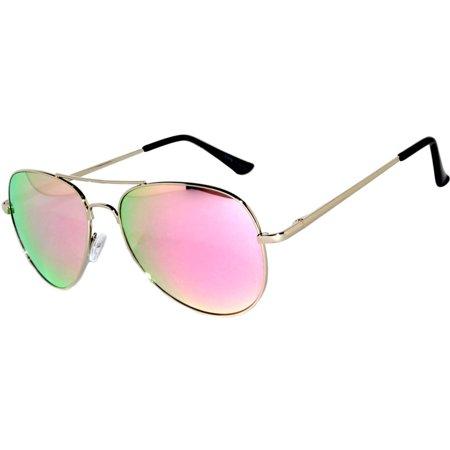 c5428929485 OWL - OWL ® Eyewear Sunglasses 065 C2 Women s Men s Aviator Metal Frame Pink Yellow  Mirror Lens One Pair - Walmart.com
