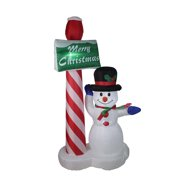 6' Inflatable Lighted Snowman with Merry Christmas Sign Christmas Yard Art Decoration