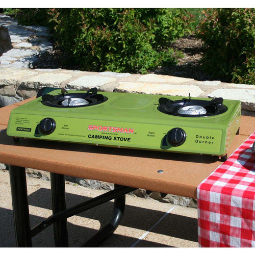 Double Burner Gas Camp Stove, Propane, With Auto Ignite, Burners Adjust From 12, 000 To 13,5000 Btus