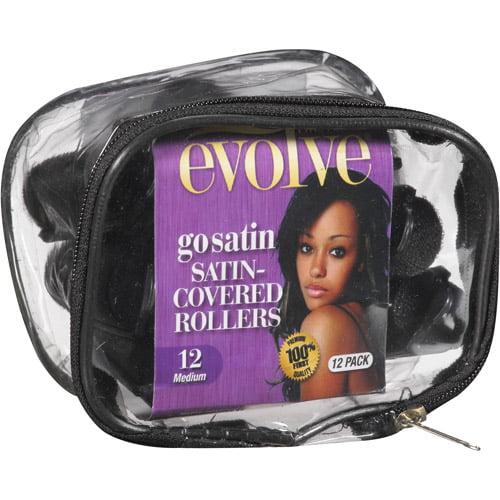 Evolve Go Satin Satin-Covered Rollers, Medium, 12 count