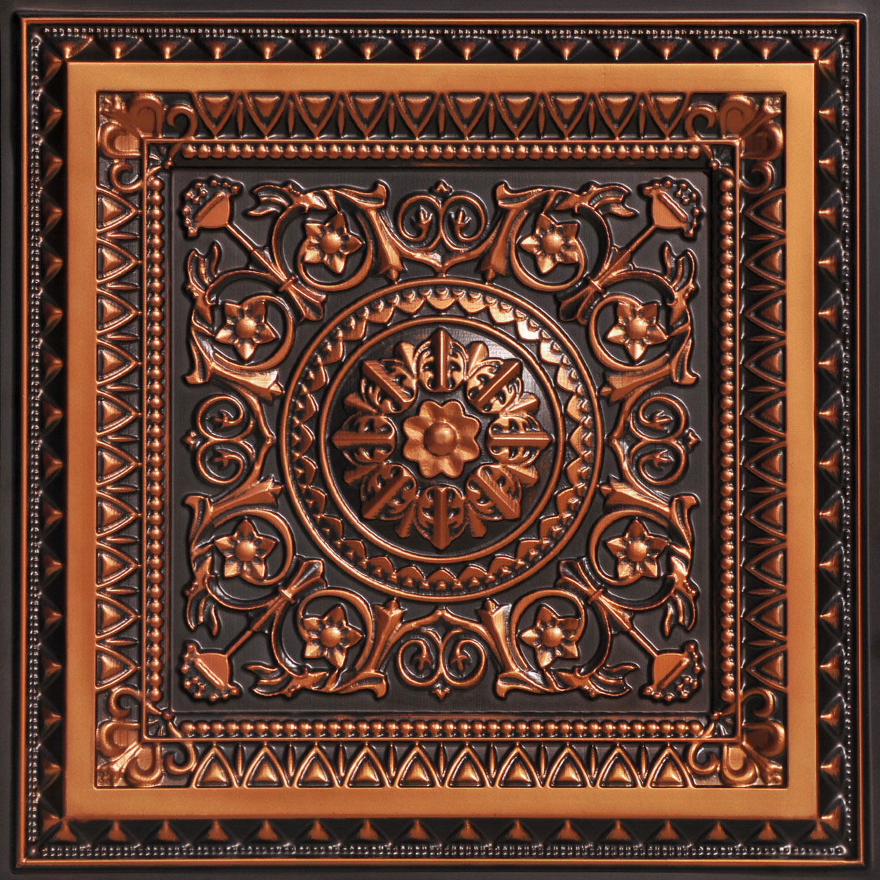 La Scala 2 ft. x 2 ft. PVC Glue-up or Lay in Ceiling Tile in Antique Copper