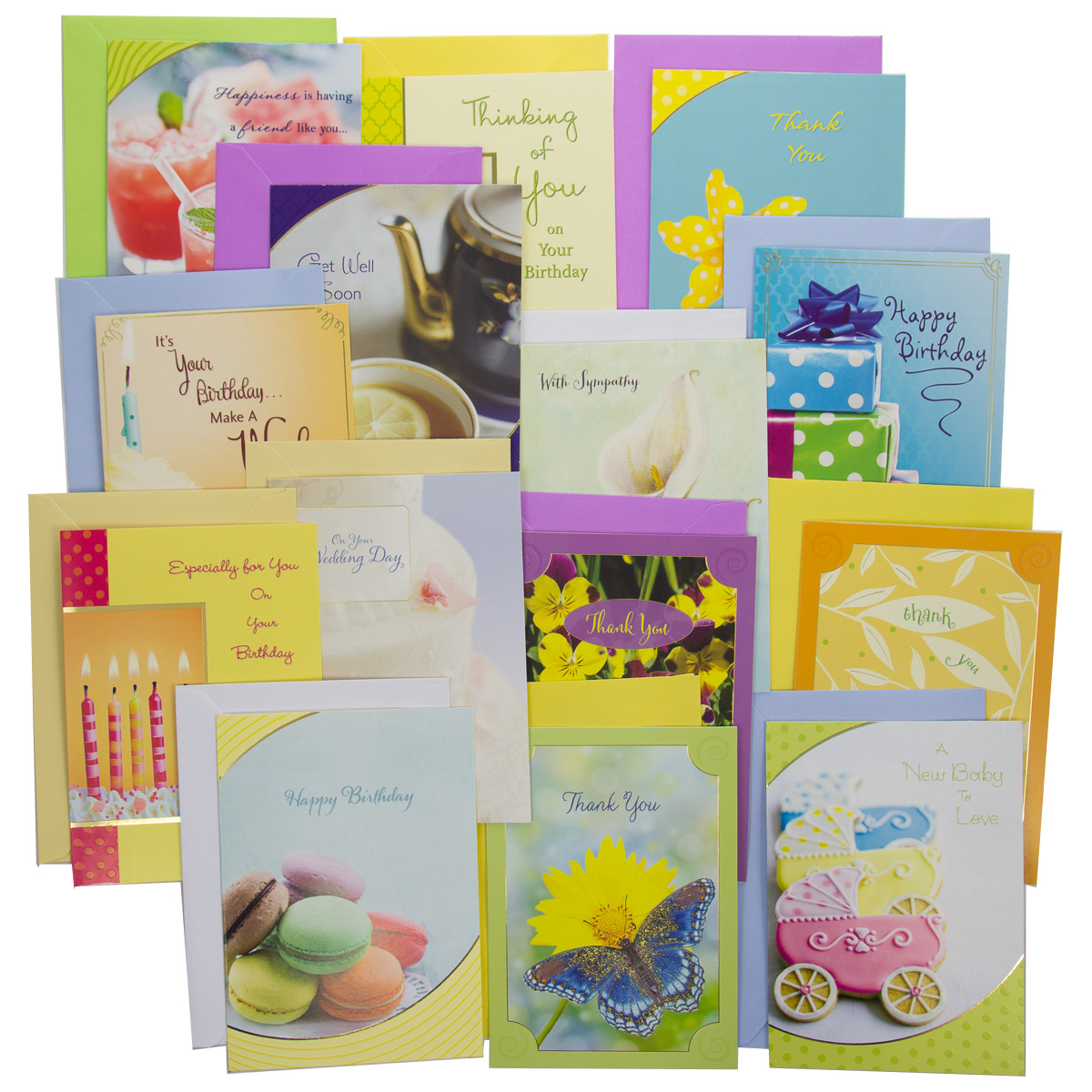 48pk Assortment of Greeting Cards With Color Envelopes For Every Occasions Birthday Thinking of You Sympathy Box Set