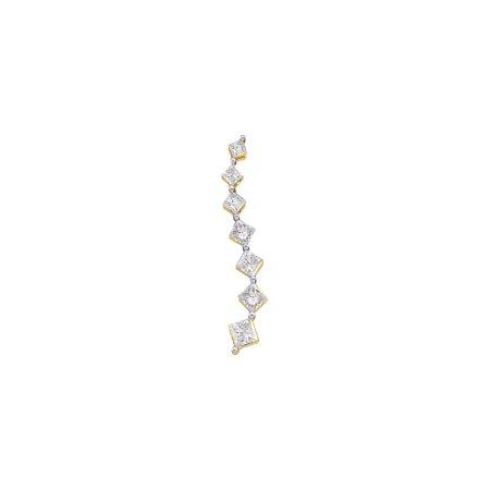 14K Yellow Gold 0.50ctw Fancy Shared Prong Princess Diamond Journey Pendant ()